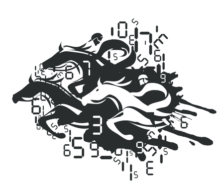 racecourse: Horse Racing and Betting. Illustration of horse racing with digital numbers. Vector available.
