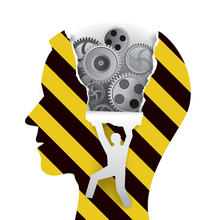 Male Head under construction. Male head in profile with gear and male silhouette ripping paper background. Vector available.