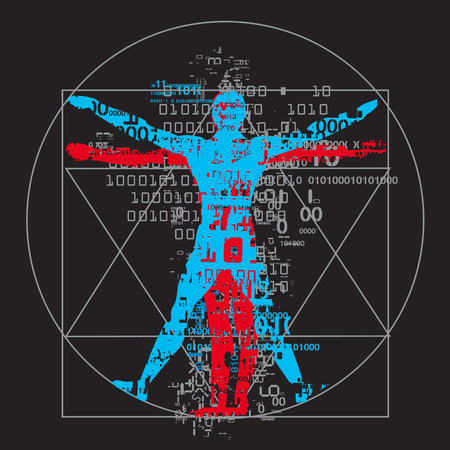 humankind: Vitruvian man of digital age. A grunge stylized drawing of vitruvian man with a binary codes symbolized digital age. Vector available.