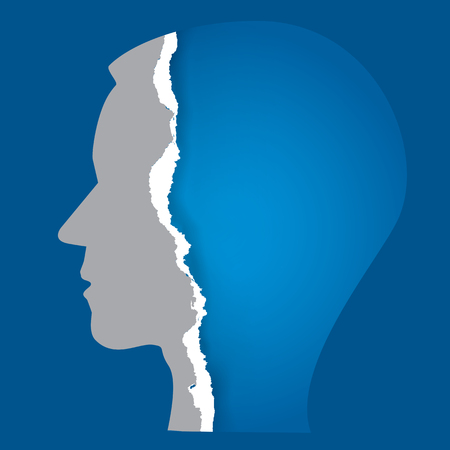 available: Torn paper human face. Stylized Male head silhouette with ripped paper face. Psychology concept of Emptyness.Vector available.