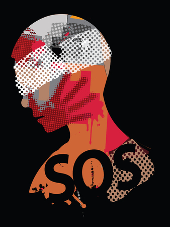 SOS Violence male head silhouette. Human head silhouette with hand print on the face symbolizing violence in the world. Vector available.