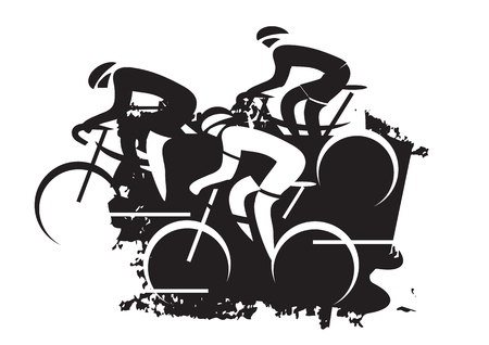 Road Cycling race. Black expressive drawing of three road cyclists. Vector available.
