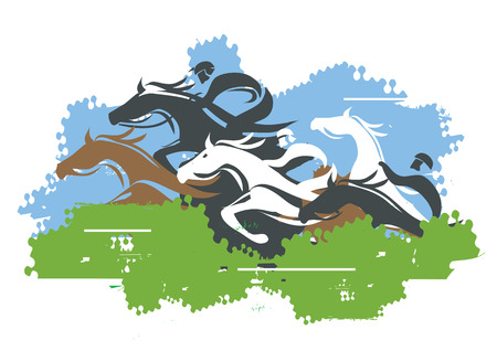 Horse Racing Jump Over Obstacle. Colorful stylized illustration Horse Hurdle race. Vector available.