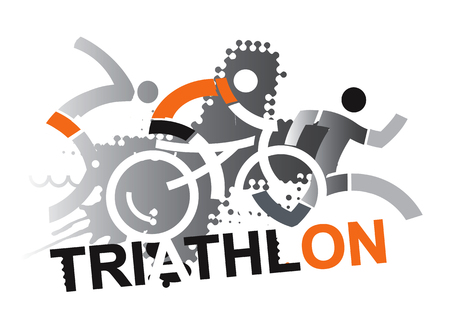 Triathlon Racers. Three triathlon abstract stylized athletes on the grunge background. Vector available.