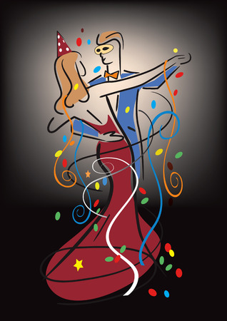 new yea: A dancing couple on a ball. Colorful stylized illustration of Young couple dancing ballroom dance and confetti.Vector available. Illustration