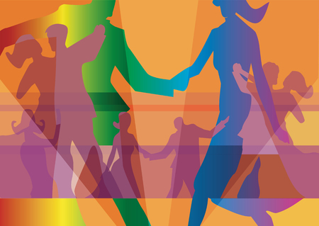 Dancing couples colorful background. Silhouettes of a couples dancing on a coloured background. Vector available.