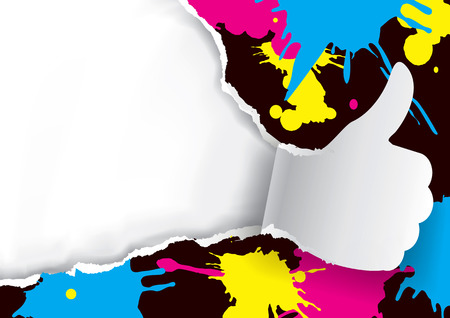 Thumbs up Ripped paper with print colors. Paper thumbs up with print colors splatters and with place for your text or image. Concept for color printing. Vector available. Иллюстрация