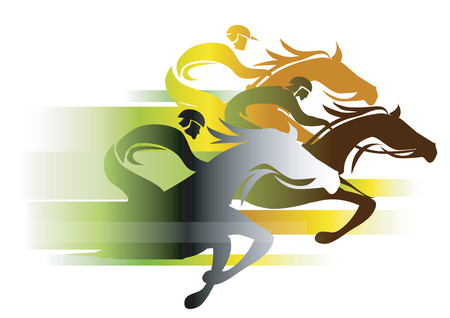 Horse Race In autumn colors. Three racing jockeys at Full Speed. Colorful illustration on white background.Vector available Ilustração