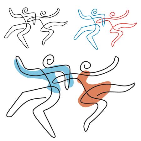 Dansende paar lijnkunst. Een temperamentend danspaar, lijnkunst gestileerd. Vector beschikbaar.