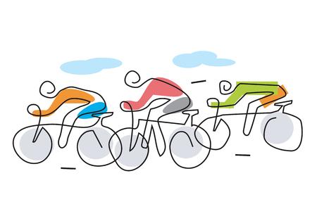 サイクリング レース ライン アートが様式化されました。3 つのバイクのライダーと自転車レースのアート イラストを行します。使用可能なベクト