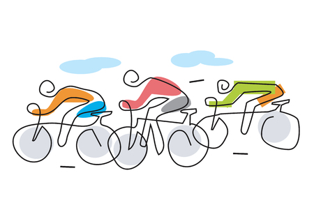 Cycling race line art stylized. Line art illustration of cycling race with three bike riders.Vector available. Çizim