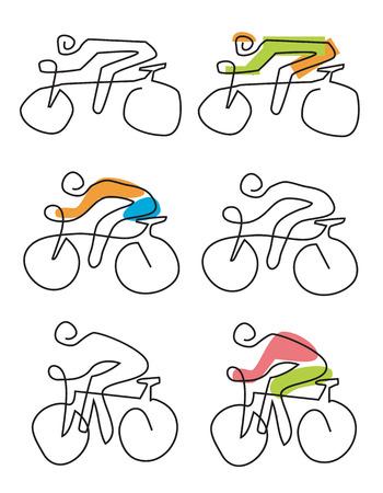 ライン アート アイコンをサイクリングします。単にライン アートのアイコンは、サイクリストと設定します。使用可能なベクトル。 写真素材 - 83429326
