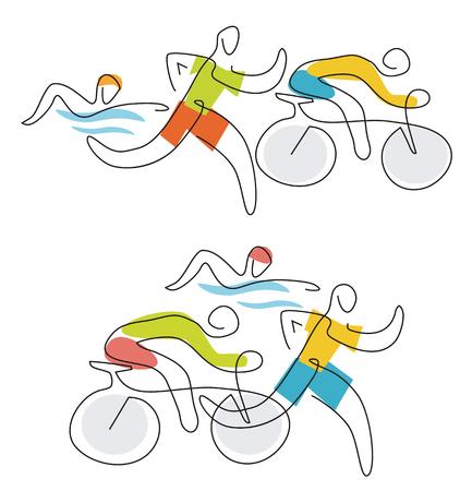 Triathlon race line art. Two  illustration of triathlon athletes, line art stylized. Vector available.