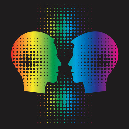 vector raster background: Gays couple heads silhouettes. Stylized  male heads silhouettes with halftone raster In the rainbow color.On the black background. Vector available. Illustration