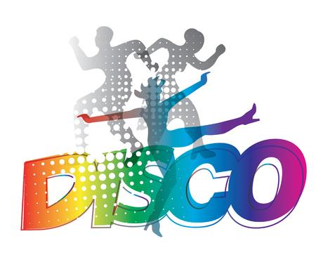 Disco dance silhouettes.