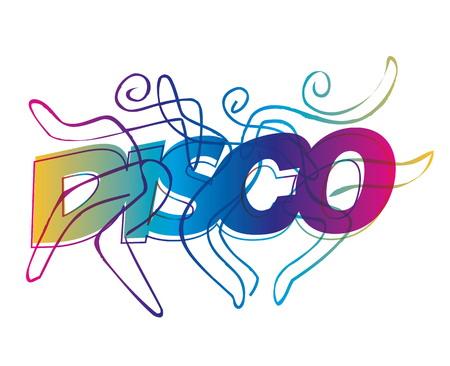 Disco dancers line art. Disco Dancers silhouettes on the colorful inscription Disco. Vector available.