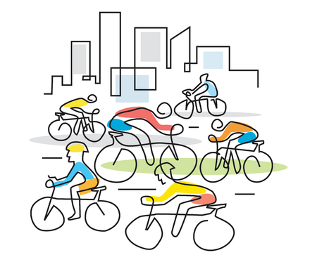Cyclists in a city line art.