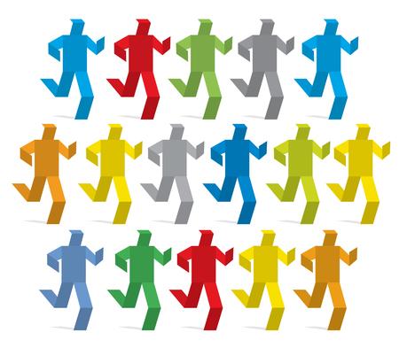 Origami marathon race. Couleurs colorées en marathon origami en papier. Concept pour la présentation des couleurs d'impression. Vector disponible Banque d'images - 84188026