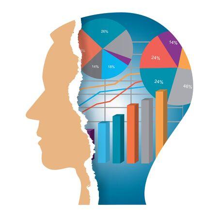 Vision d'affaires, tête de papier déchiré. Silhouette tête masculine stylisée dans le profil avec graphique de l'économie. Vecteur disponible.