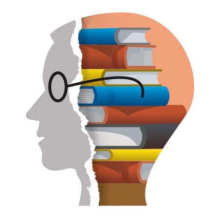 Bookworm 리더 개념입니다. 스타일 된 남자 머리 실루엣 찢어진 된 종이 책들과 함께. 흰색 배경에 고립. 벡터 사용할 수 있습니다.