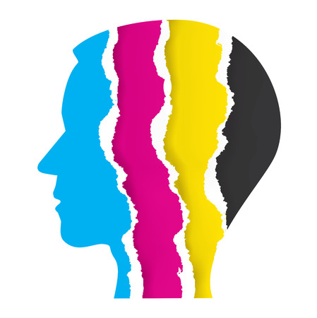 Print colors ripped paper head. Stylized  Male head silhouette with ripped paper with print colors. Concept for presenting of color printing. Vector available.