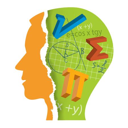 수학 학생 머리 Slilhouette입니다. 양식에 일치시키는 남성 머리 실루엣 수학 기호입니다. 벡터 사용할 수 있습니다.