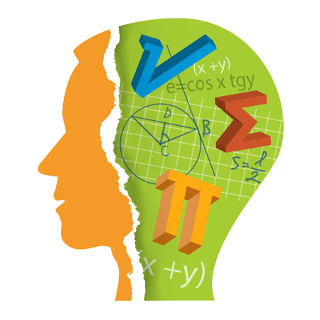 Mathematics Student Head Slilhouette. Stylized Male Head silhouette with mathematics symbols. Vector available.