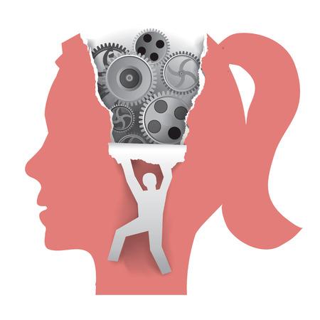 女性心理を発見します。ギアと男性のシルエットを背景に用紙をリッピングとプロファイルで様式化された女子の頭。使用可能なベクトル。  イラスト・ベクター素材