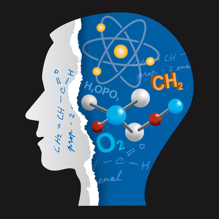 Chemistry Student Head Slilhouette. Stylized Male Head silhouette with chemistry symbols and notes. Vector available.