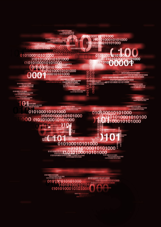 Computer virus skull danger concept. Illustration of Abstract Skull sign with binary codes. Concept for on-line piracy, hacking.