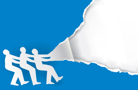 Team work torn paper concept. Three male silhouettes ripping paper background. Vector available.