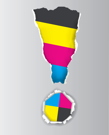 Exclamation mark with ripped paper and print colors. Concept for presenting of color printing. Vector available. Illustration