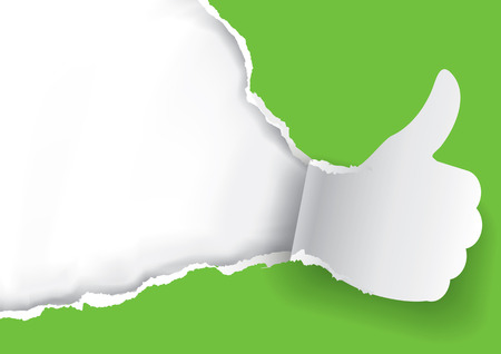 Thumb up for green. Green Paper background with torn thumbs up.Place for your text or image. Use full as template. Vector available. Illustration