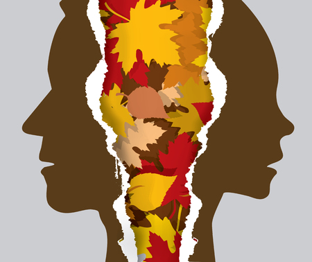 Divorce couple and autumn leaves.  Ripped paper with man and woman silhouettes and automn leaves symbolizing symbolizing the end of the relationship.Vector available.