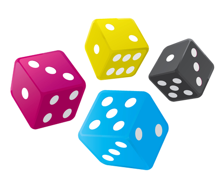 Dices with CMYK colors. Stock Illustratie