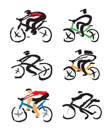 Set of cyclist ink drawings. Illustration