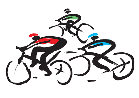 Bicycle race ink drawing. Hand drawn expressive illustration of cycling race. Vector available.