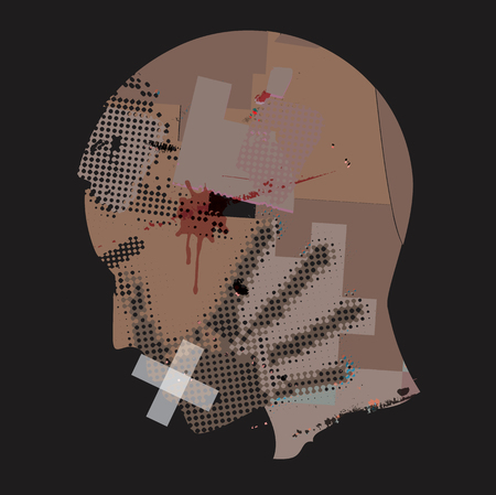 Man Victim Of Violence.  Young man grunge stylized silhouette with hand print on the face and with taped mouth. Vector available. Ilustração