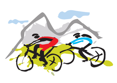 Motociclisti della montagna che guidano il sentiero Disegnati a mano illustrazione espressiva di appassionati di mountain bike. Vector disponibile. Archivio Fotografico - 89206395