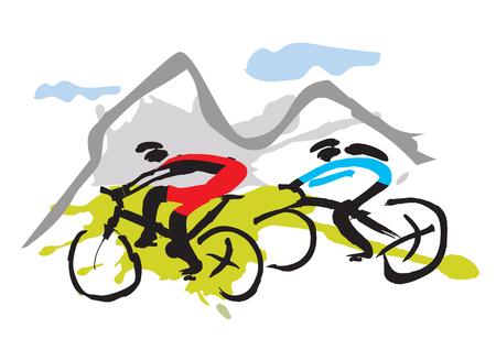 Mountainbikers rijden op het parcours Hand getekend expressieve illustratie van mountainbikers. Vector beschikbaar. Stockfoto - 89206395