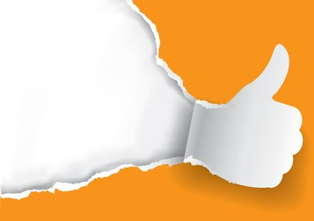 Thumbs up Ripped orange paper background.  Paper background with torn thumbs up.Place for your text or image. Use full as Advertisement template. Vector available.