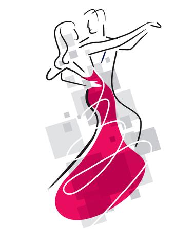 Ballroom Dancers Couple. Stylized illustration of Young couple dancing ballroom dance. Vector available.