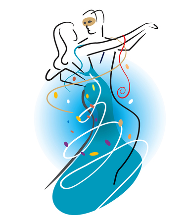 Ballroom Dancers Couple with confetti. Stylized illustration of Young couple dancing ballroom dance. Vector available. Stock Illustratie