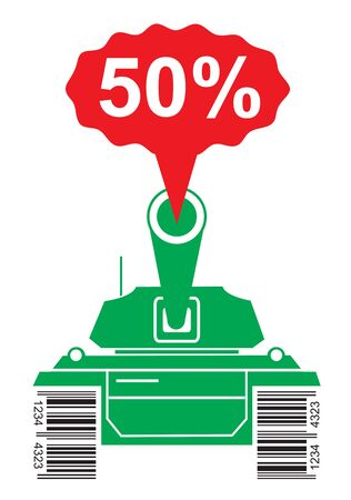 Price War Battle Tank. Green silhouette of battle tank with a bar code instead of tracks, shooting fifty percent discount. Concept for market and price war. Vector available Illustration