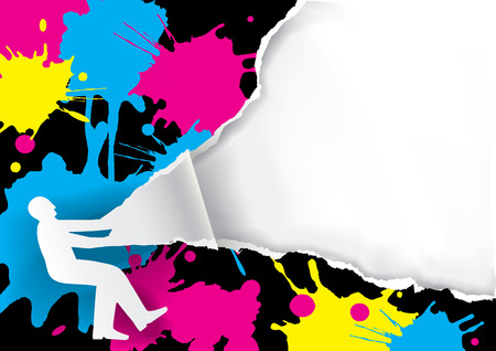 Color printing promotion background.  Male silhouette ripping paper background with print colors. Place for your text or image. Vector available.