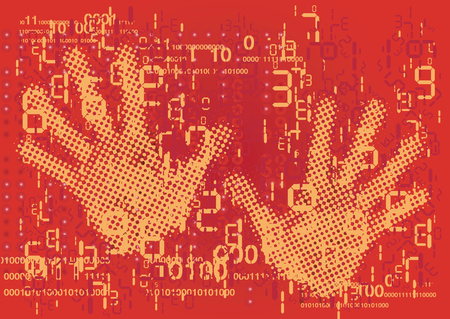Abstract red background with hands and grunge digital numbers codes.