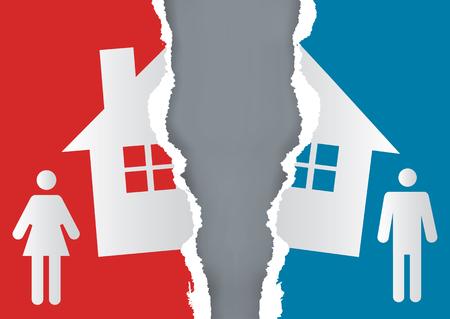 Divisão de propriedade no divórcio. Um casal divorciado e papel rasgado com o símbolo da casa. Vector disponível.