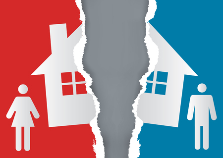 Podział majątku przy rozwodzie. Rozwiedziona para i podarty papier z symbolem domu. Wektor dostępny.