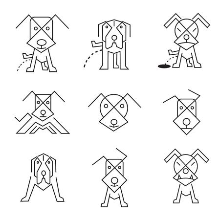 Dog icons line art.