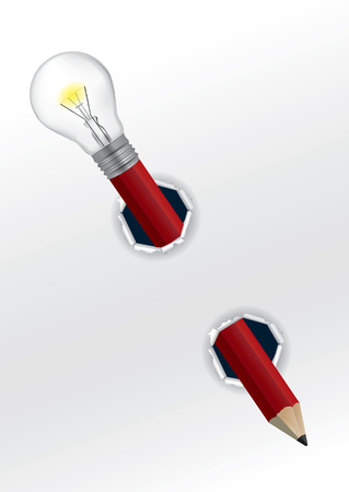 Creative Pencil with bulb. Red Pencil with light bulb symbolizing creativity with vhite ripped paper.Vector available.